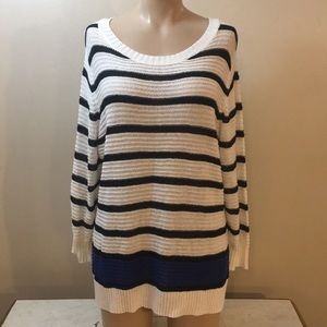 Boho White Strip Oversized Lite Knit Sweater Punk